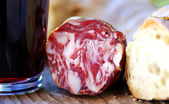 Bread, meat and wine — Stock Photo