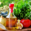Stock Photo: Olive oil and Mediterranecuisine Ingredients