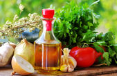 Olive oil and Mediterranean cuisine Ingredients — Stock Photo