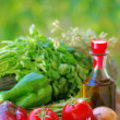 Vegetables, olive oil and ingredients — Stock Photo #29318547