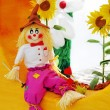Colorful scarecrow at garden of fantasy — Stock Photo