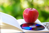 Ripe apple, dvd, and open book — Stock Photo