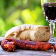 Meat bread and wine, — Stock Photo