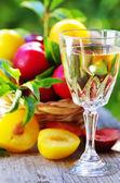 Kieliszek białego wina i śliwek — Zdjęcie stockowe