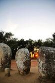 Almendres Cromlech at sunset,Evora, Portugal. — Stock Photo