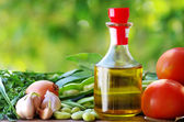 Tomato,beans, oliveoil and ingredients — Stock Photo
