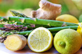 Lemons, ginger and vegetables — Stock Photo