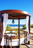 Lounge Terrasse mit Pergola am Strand — Stockfoto