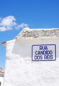 Street name sign in village at south of  Portugal  — Stock Photo