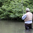 Fly rod fishing — Stock Photo