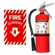 Fire extinguisher and sign isolated — Stock Photo #12562945