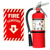 Fire extinguisher and sign isolated — Stock Photo