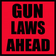 Stock Photo: Gun laws ahead sign