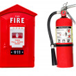 Fire extinguisher and alarm box isolated — Stock Photo