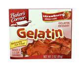 Box of Bakers Corner Strawberry Gelatin — Stock Photo