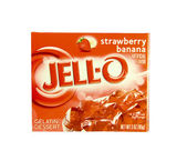 Box of JELL-O Strawberry Banana Gelatin Dessert — Stock Photo