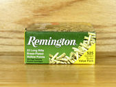 Box of Remington 22 Rimfire Cartridges — 图库照片