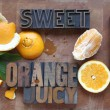 Stock Photo: Orange cut and peeled with related words