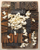 Words related to movies with popcorn — Stock Photo