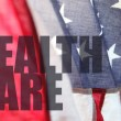 American flag with health care words - Stock Photo