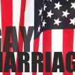 Gay marriage words on American flag - Stock Photo
