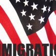 American flag with immigration word - Stock Photo