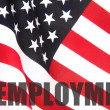 Foto Stock: Americflag with unemployment word