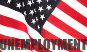 American flag with unemployment word — Stock Photo