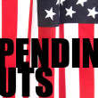 American flag with spending cuts words — Stock Photo