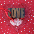 Polka dots and Valentine hearts — Stock Photo
