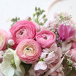 Pink flowers with ribbon — Stock Photo