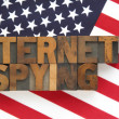 Internet spying words on American flag — Stock Photo