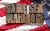 American flag with same sex marriage words — Stock Photo