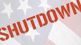 Shutdown word on old flag — Stock Photo
