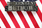 USA flag with government shutdown in metal type — Stock Photo