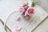 Student lesson page from 18th century with roses — Stock Photo