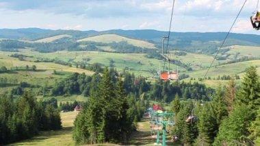 Chair lift in Carpathians — Stock Video
