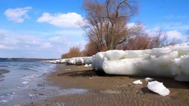 Springtime. Thawing ice by river