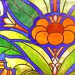 Many-coloured old stained-glass window — Stock Photo