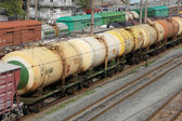 Set of tanks with oil and fuel transport by rail — Stock Photo