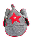 Budenny cap - pointed helmet formerly worn by Red Army men — Stok fotoğraf