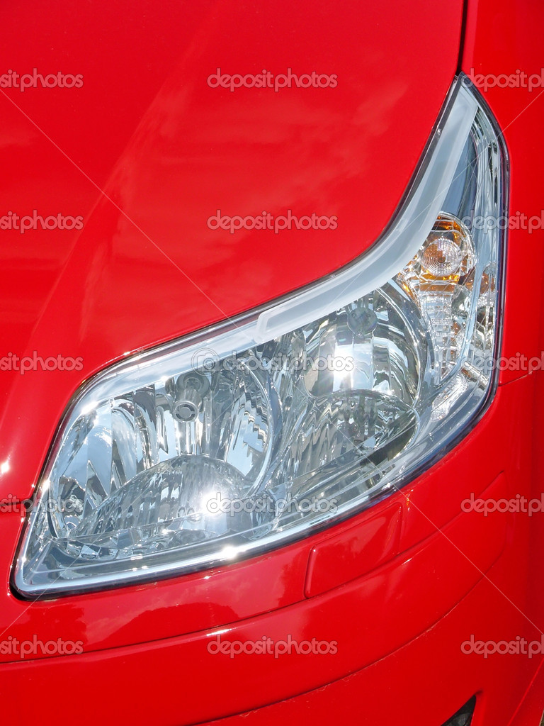 Headlight of red car  Stock Photo #13312582