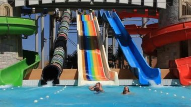 Recreation area with aquapark — Stock Video