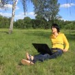 Woman with notebook on the nature — Wideo stockowe