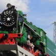 Green locomotive — Stock Video