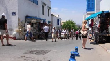 Marketplace in Sidi Bou Said, Tunisia — Stock Video