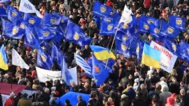 Kiev, ukrayna - toplantı içinde sokak kreschatik caddesi — Stok video
