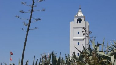 White tower in Sidi Bou Said Tunisia — Stock Video