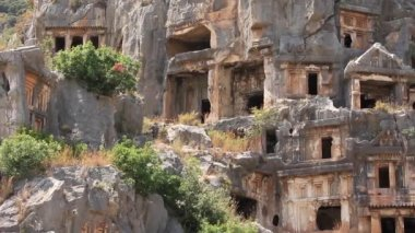 Rock-cut tombs of the ancient Lycian necropolis.Myra old name - Demre Turkey — Stock Video