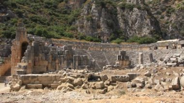 Ancient Greek-Roman amphitheatre. Myra old name - Demre Turkey — Stock Video